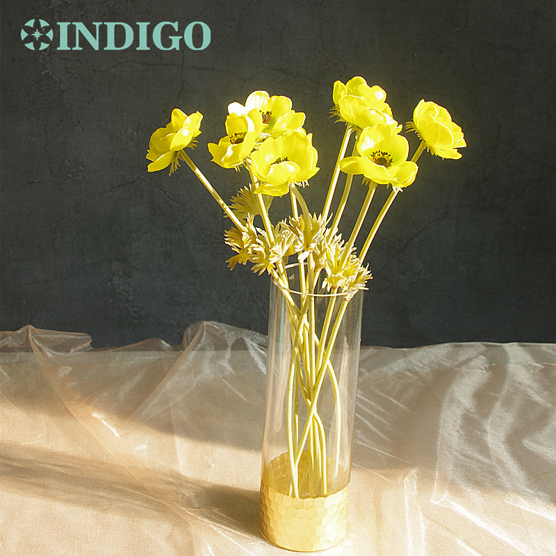 INDIGO 9 pcs PU Yellow Anemone Pasque Daisy Flower Home Bride Wedding Artificial Flower Floral Party Flower Free Shipping in Artificial Dried Flowers from Home Garden