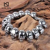 Kalen Skull Charm Men's Bracelet Stainless Steel Punk Skeleton Male Wrap Bracelet Bangle European Rock Jewelry Accessories