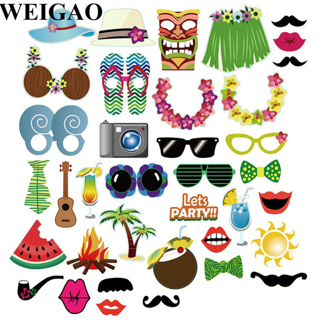 Weigao 32pcs Summer Hawaii Tropical Party Photo Booth Props Birthday