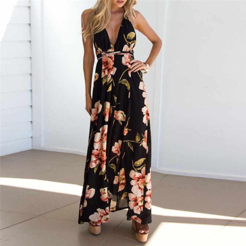 79b2ee59965 Лидер продаж Модные летнее платье 2018 пляжное платье Сексуальная Boho  Длинные Вечеринка платье Повседневная Женская платье
