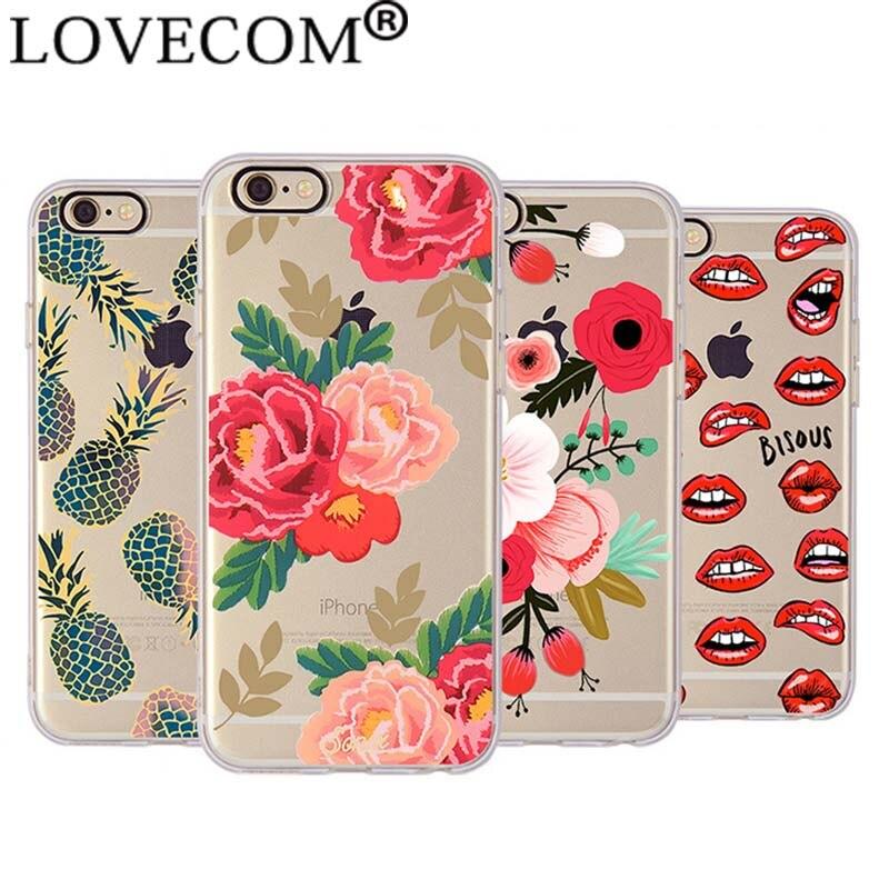 Nueva frutas de verano flores soft tpu cajas del teléfono cubierta para iphone 6