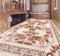 Custom 3d Flooring European Luxury Marble Rose 3d Floor Wallpaper For Living Room Photo Wall Mural