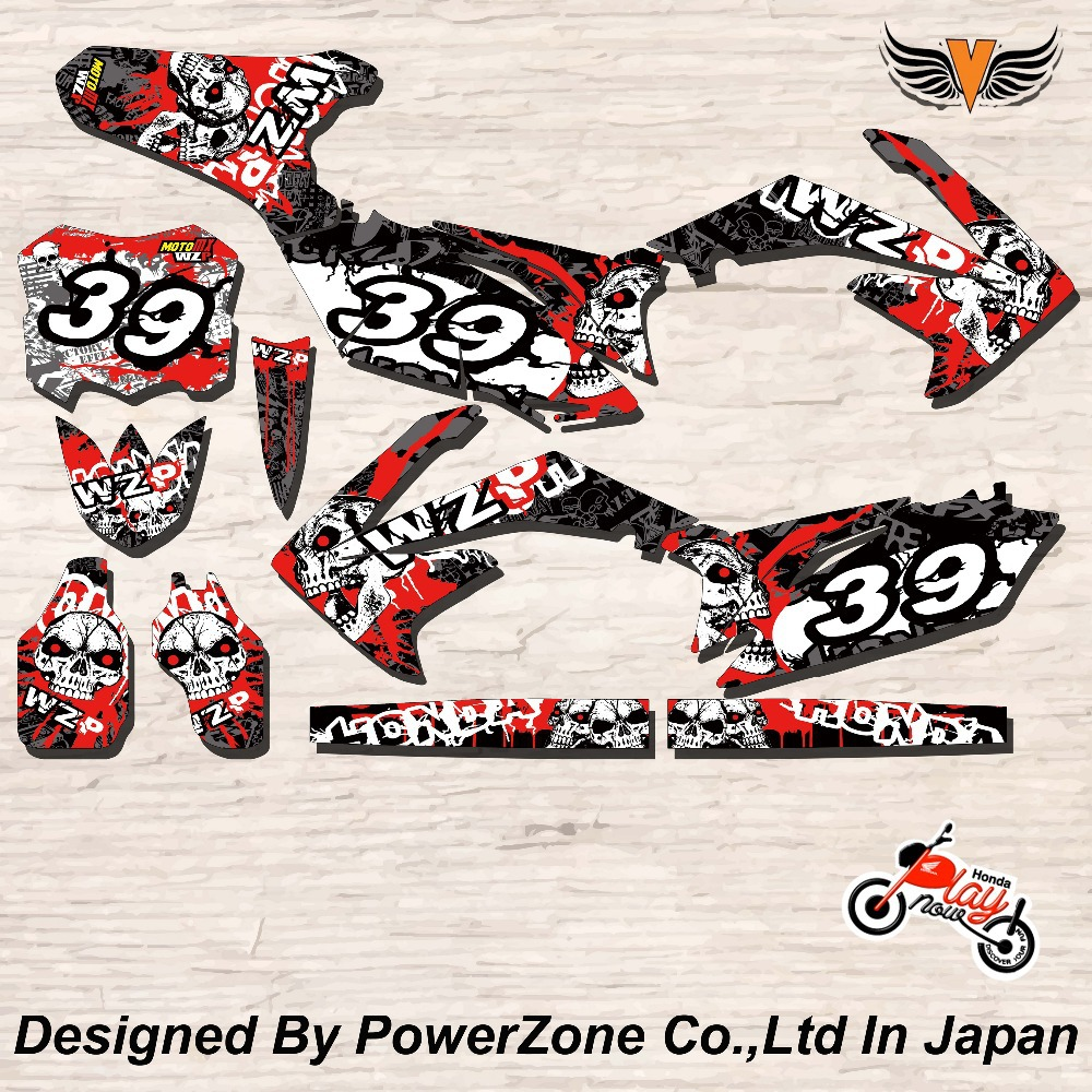 CRF XR CRM 125 250 450 650 Team Graphics Backgrounds Decals Stickers Ghost Motor cross Motorcycle Dirt Bike MX Racing Parts