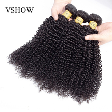 VSHOW Mongolian Kinky Curly Hair 100% Human Hair Weave Bundles 10-26 Inch 4 Bundles Natural Color Remy Hair Weave Extensions стоимость