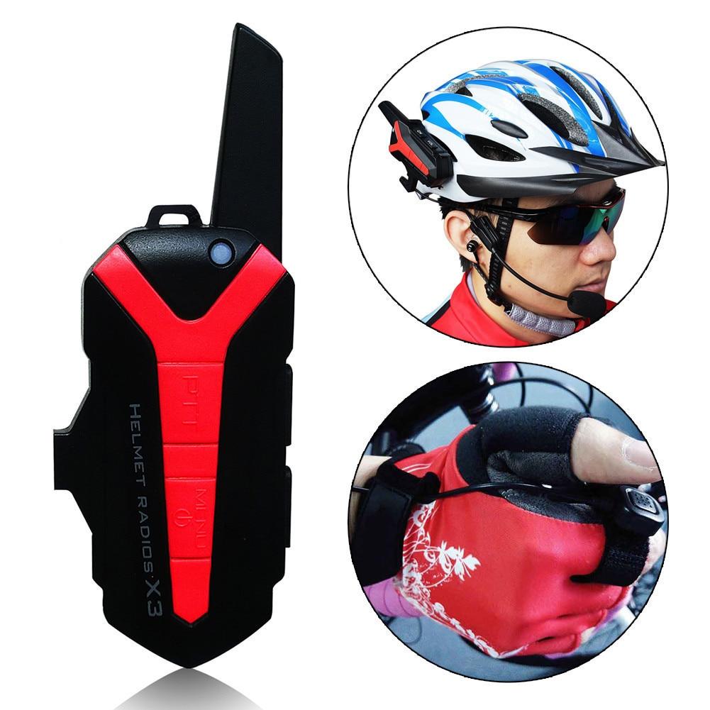 Waterproof X3 Plus Bluetooth Walkie Talkie BT Motorcycle Motorbike Helmet 1.5-3KM Intercom Interphone Headset 2-Way Radio fjx tc 3000 fm 2 way radio walkie talkie transceiver intercom