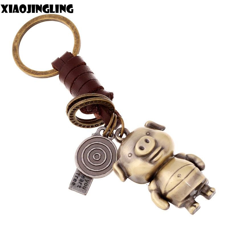XIAOJINGLING Antique Bronze Cartoon Pig Keychain Bag Keyfob Charms Car Key Chain Ring No ...