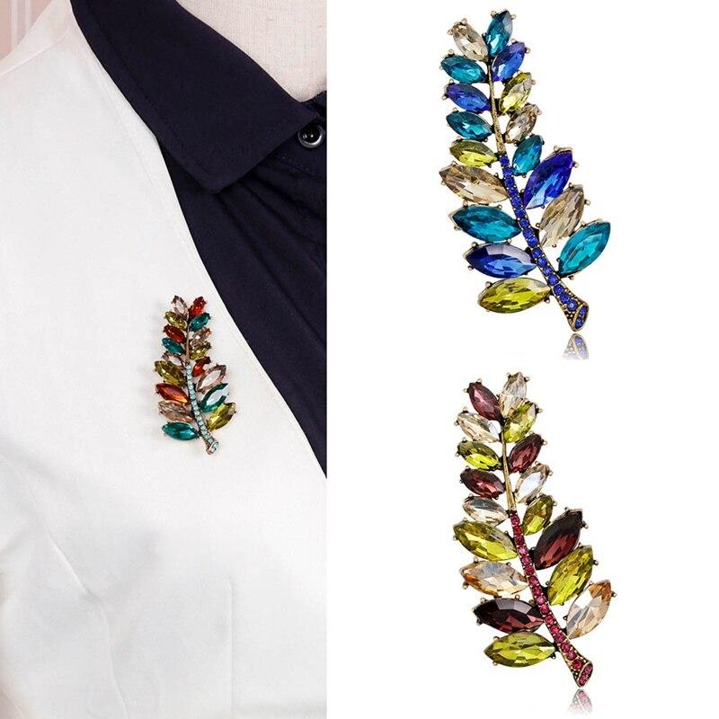 Fashion Women Colored Leaf Rhinestone Crystal Collar Pin Creative Shirt Brooch Jewelry Christmas Gift Brooches Jewelry Wedding