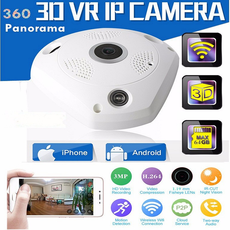 3.0MP 960P 3D VR Cam WIFI IP Camera Fisheye Lens HD Panorama Cameras IR Night Vision CCTV Security Camera Support 32GB