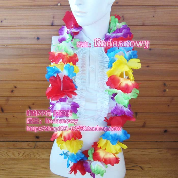 Deluxe hawaii hula skirt props hair accessory garishness neck ring multicolour