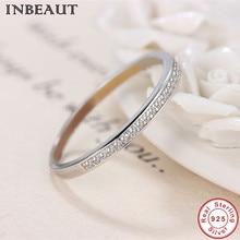 INBEAUT de Plata de Ley 925 claro anillo de circón de moda mujeres lindo anillo de cóctel para mujer regalo de boda de joyería de moda