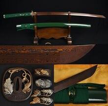 Handmade Full Tang Japanese Samurai Katana Toad Home Decor Metal Kendo Sword Damascus Folded Black &Red Steel Sharp Battle Ready