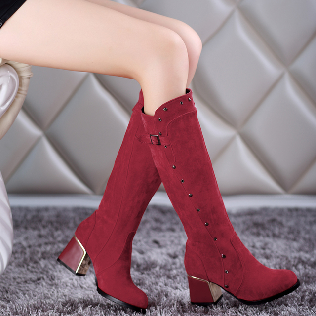 New arrival Winter plus size 11 12 13 14 15 16 17 18 19 20 Fashion Metal Decoration Non-slip Mid-Calf High Heels Winter Boots