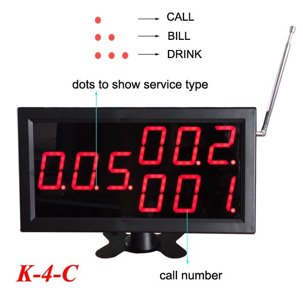 25pcs Call Transmitter Button with Menu Holder+one Display Receiver 433MHz 999CH Restaurant Pager Wireless Calling Systems - 2