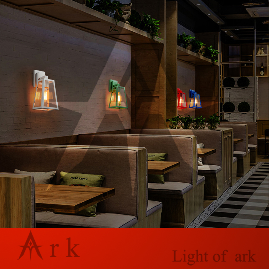 ark light American vintage nostalgic sconce light IRON FRAME stair pendant light classical wall light coffee room bar