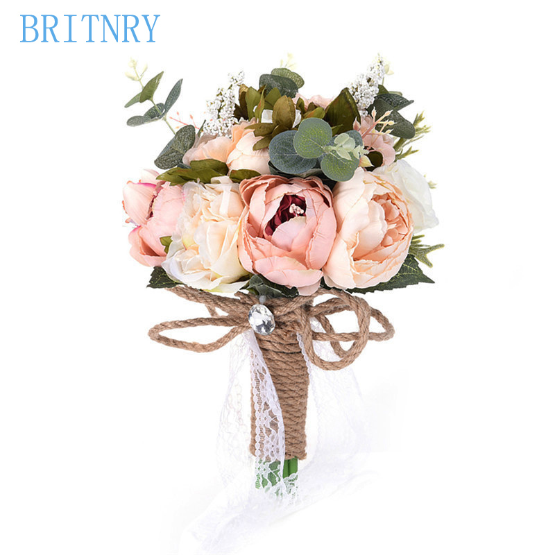 What Are Cheap Flowers For Weddings: BRITNRY Country Style Artificial Wedding Flowers Bridal