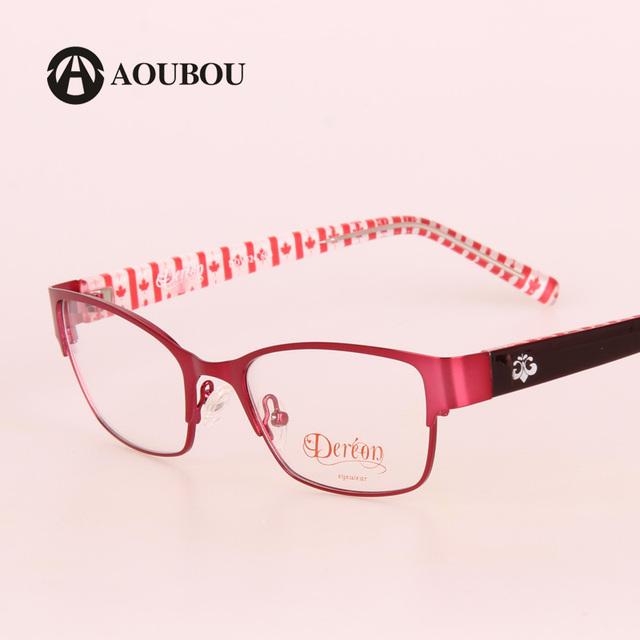 AOUBOU Mulheres Óculos de Computador Vidros Míopes Armações de Aço Inoxidável Vermelho Flora TR90 Pernas Feminino High-end Grau Vidros B006
