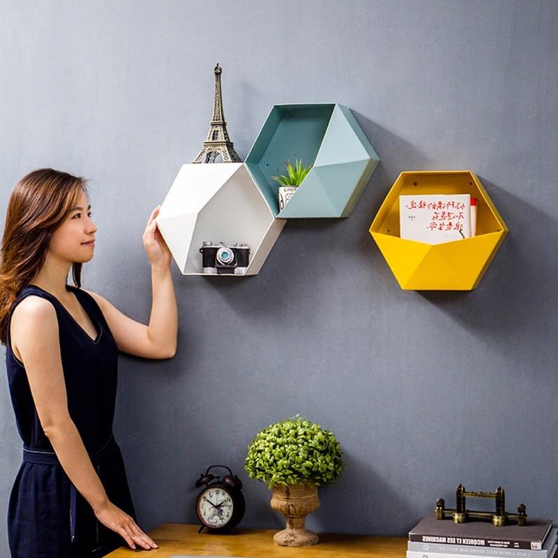 Creative Metal Hexagonal Storage Holders Nordic Iron Personalized Geometry Colourful Hanging Shelf Multifunction Desktop Racks in Storage Holders Racks from Home Garden