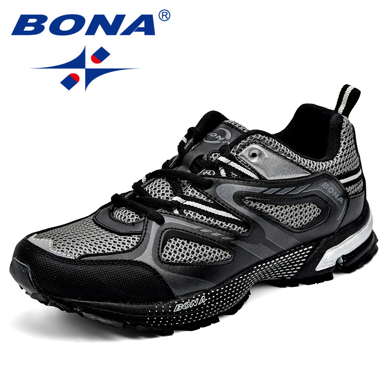 BONA Running-Shoes Outdoor Classics-Style New-Arrival Men Mesh Lace-Up Cow-Split