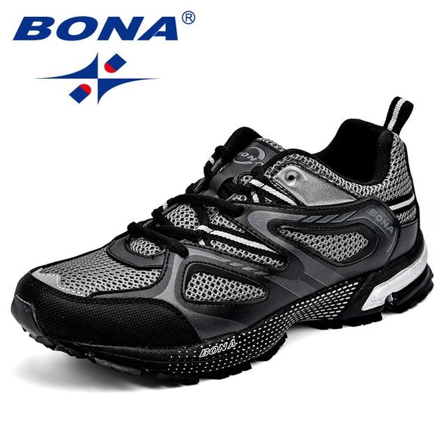 BONA/Новое поступление, классические мужские кроссовки из яловичного спилка, мужская спортивная обувь на шнуровке, Уличная обувь для бега, бесплатная доставка