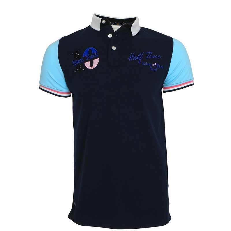 Top embroidery 2019 Vintage men's short sleeve   polos   shirts Solid color slim fit mens clothes Eden Park dress   polo   shirt M-3XL