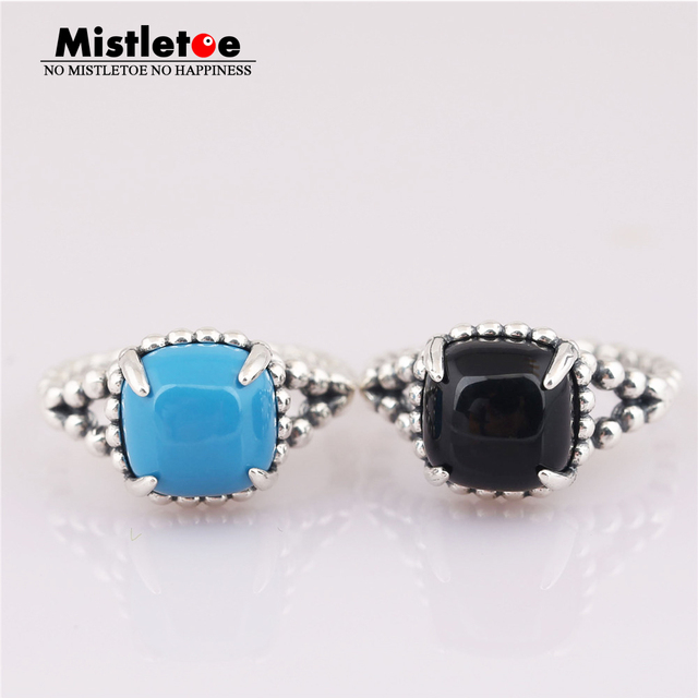b962bf873 Mistletoe 100% 925 sterling Silver Vibrant Spirit Ring, Black Blue Crystal  Compatible with European