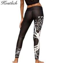 Kostlich Spring Tree Print Women Workout Leggings Put Hip Elastic High Waist Fitness Legging Breathable Slim Pants Women Leggins
