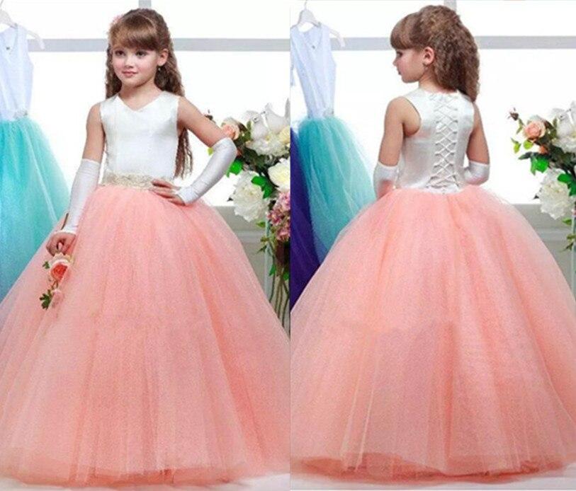 2017 New White Pink Flower Girl Dresses V Neck Beaded Sash Junior Pageant Dress Girls First Communion Dress pink round neck beaded detail fahsion jumper