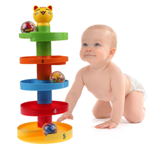 Baby Rolling Ball Puzzle ABS Plastic Infant Pile Tower Puzzle Rolling Ball Bell Stacker Educationsl Toys Kids Gift