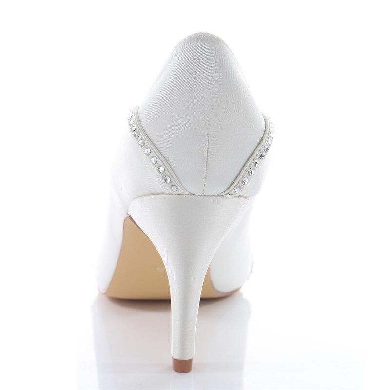 Donne Peep Toe Strass Raso Avorio Bianco Da Sposa Tacco Sottile Scarpe Da Sposa Da Sera Pompe Corte Scarpe Uninnova 183 8B - 3