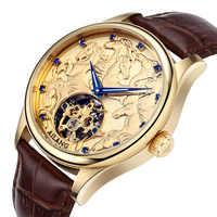 AILANG Fashion Casual Skeleton Watch Men 30M Waterproof Luxury Brand Mechanical Watches Relogio masculino Clock Gold Wristwatch