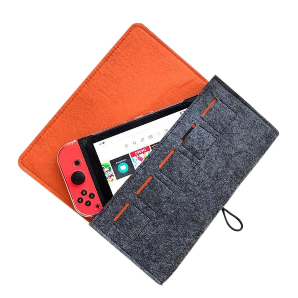 Carry Case for Nintend Switch Suede Pouch Bag Accessory Storage Case for Nintendos Switch Console Storage+5 Game Cards Slot