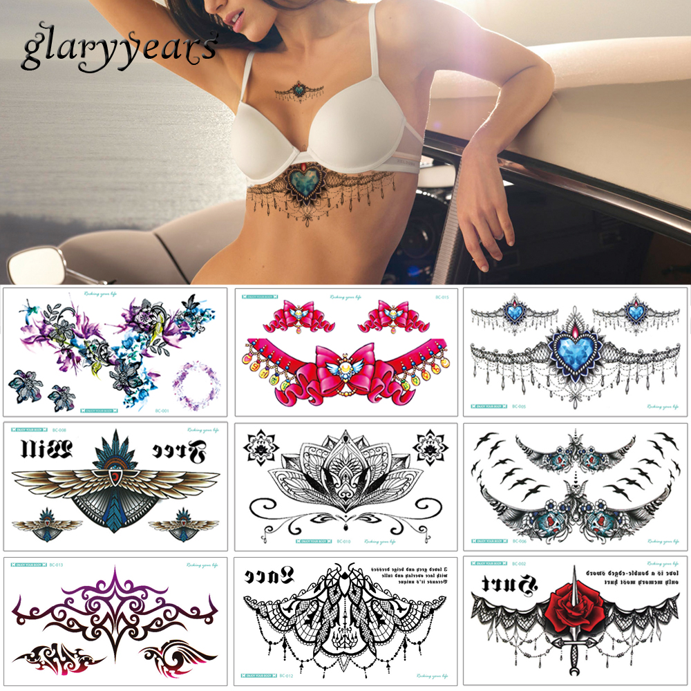 Glaryyears 20 Designs 1 Sheet Chest Body Tattoo XT-BC Temporary Waterproof Jewelry Lace Decal Waist Art Tattoo Sticker For Women