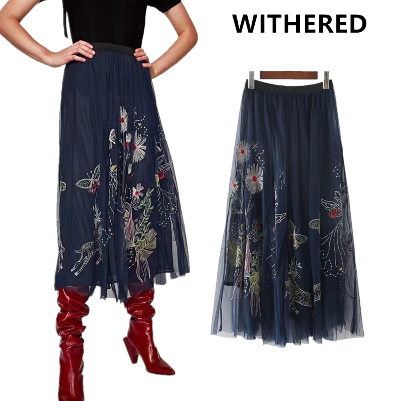 Withered 2017 autumn women skirts midi calf vintage style high street Tulle embroidery flower A-line midi skirts women
