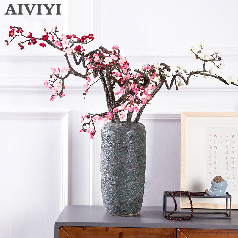 High quality artificial simulation plum blossom fake flower home decoration rayon plum free shape floral wedding DIY decoration