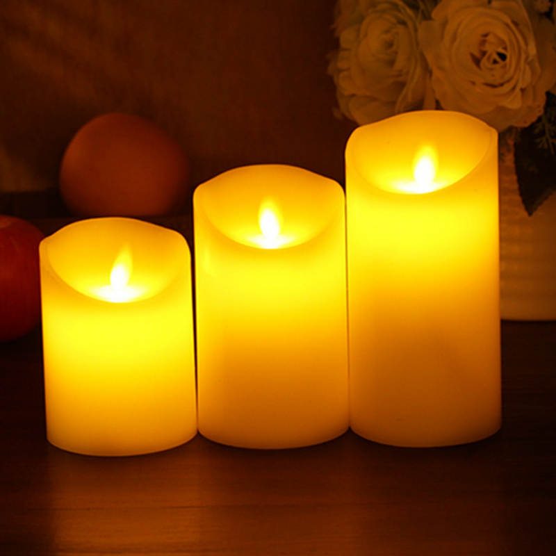 75/100/130/150 MM LED Electronic Paraffin Candle Flameless Wax Candle Light Swing Wick for Event Party Home Wedding Decor --M25