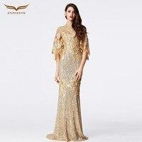 CONIEFOX New Arrival caftan Big Sleeve Gold Women mother of the bride dresses Evening Dresses vestido de festa longo31152