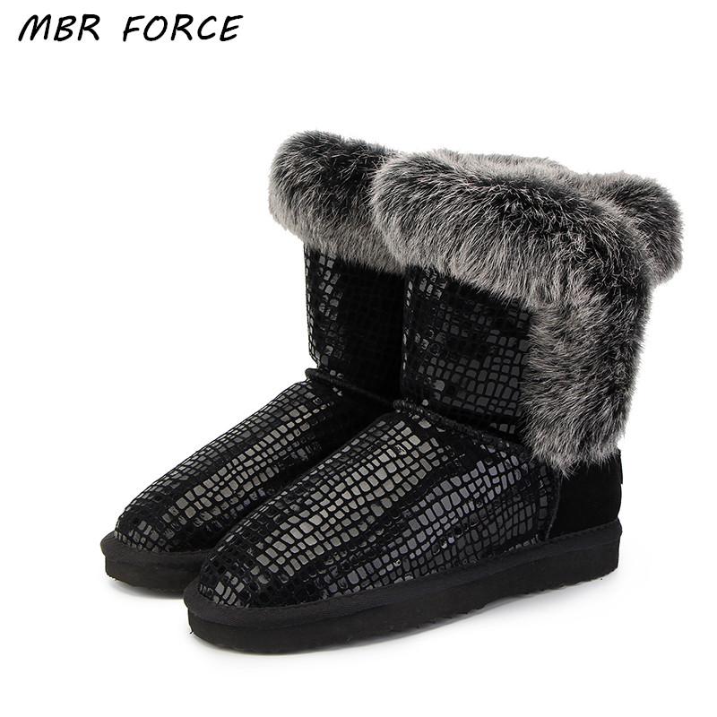 цены MBR FORCE New Fashion Women 100% Genuine Leather Snow Boots Natural Rabbit Fur Winter Boots Warm Women Boots Shoes Free Shipping