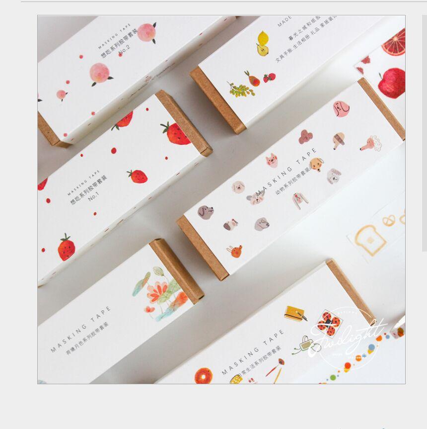 8Rolls/set Succulent Fruit Vegetables Sweet Dessert Snacks Lotus Animal Fox Daily Life Washi Tape DIY Planner Diary Masking Tape