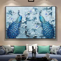 New Style Heteromorphic Drill Cross Stitch 5D Living Room Peacock Full Diamond Painting Hanging Scroll Wall Painting Picture