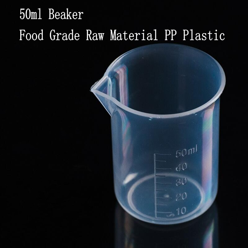10pcs/lot Capacity 50ml Low Form Beaker Chemistry Laboratory Borosilicate PP Plastic Transparent Beaker Thickened With Spout