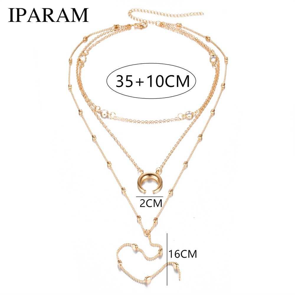 IPARAM Богемия многослойная Луна круглая цепочка колье ожерелье винтажное серебряное женское ожерелье с подвеской ювелирные изделия