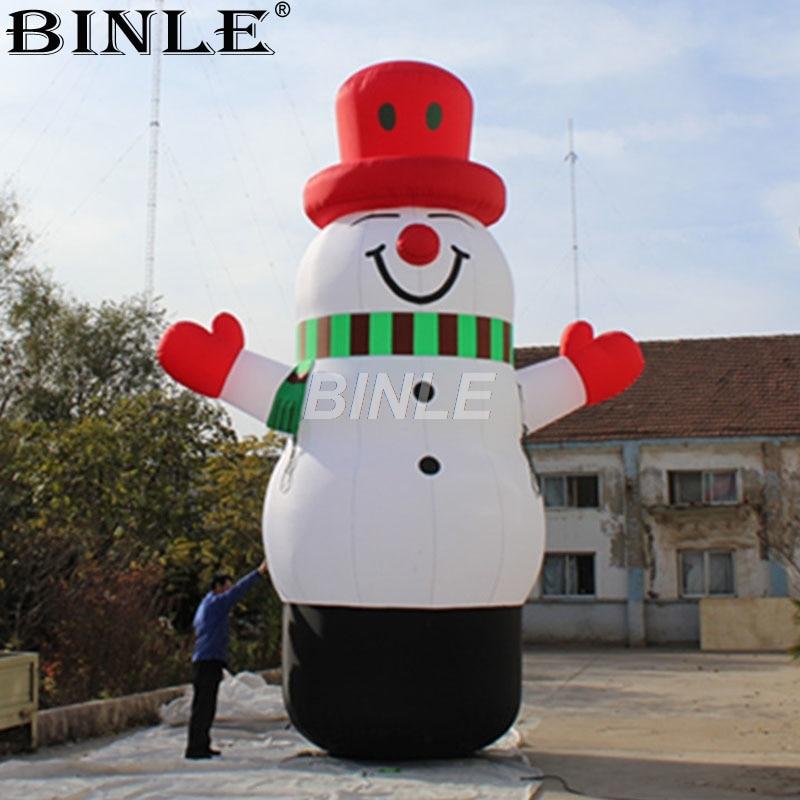 Gratis air verzending promotionele indoor outdoor grote smiley Kerst opblaasbare sneeuwpop met rode hoed voor vakantie decoratie