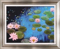 Needlework DIY Ribbon Cross Stitch Sets For Embroidery Kit Garden Lake Lotus Flowers Bands Embroidery Wall