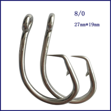 50 pieces 8 0 Mustad Tuna Circle font b Fishing b font Hook Stainless Steel Tuna