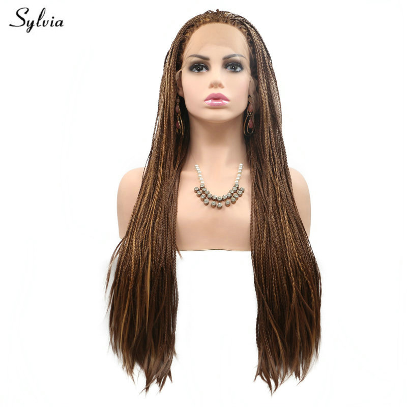 Sylvia Braided Box Braids Wig Long Hair Natural Hairline Brown Synthetic Lace Front Wigs for Women Festival Holidays Drag Queen - 4