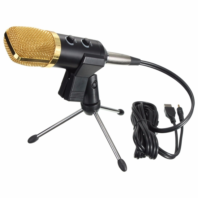 Audio USB Condenser Sound Recording Vocal Microphone MIC w/ Stand Mount Microphones With USB Audio Cable