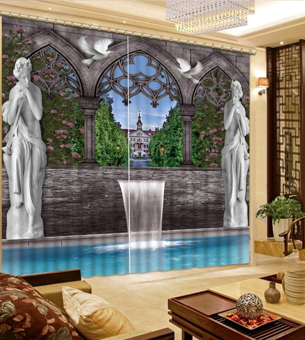 Personnaliser 3D rideau impression Blockout Photo salon chambre pierre statue rideau maison fenêtre