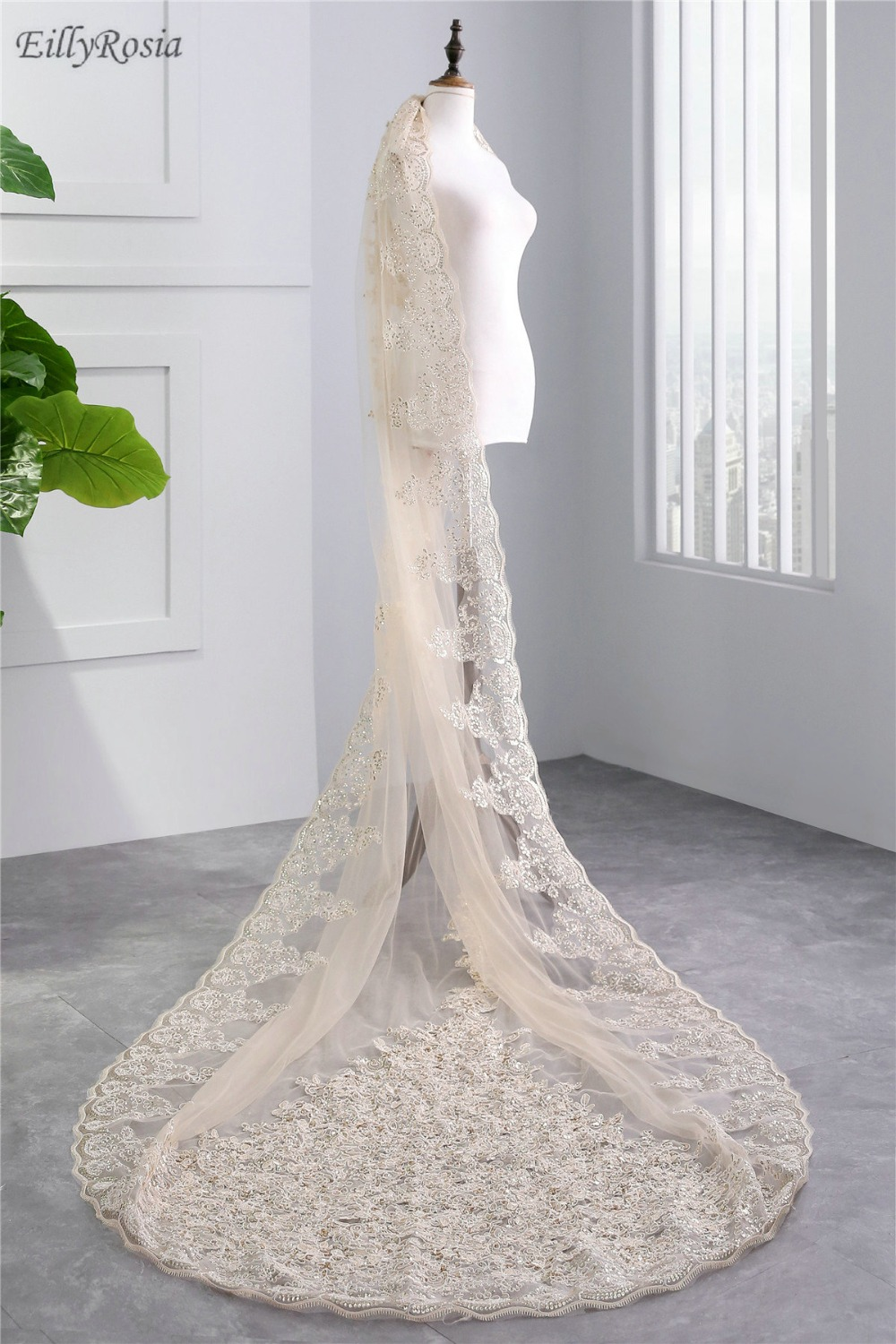 Champagne Wedding Veils Long Lace Appliques Sequins Ivory White Luxury Bridal Veils For Bride Soft Tulle One Layer Voile Mariage