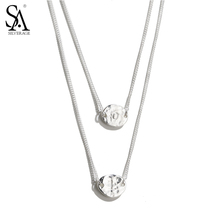 SA SILVERAGE 925 Sterling Silver Necklaces Pendants for Women Fine Jewelry Two Layer Round LOVE Alphabet Valentine's Gift