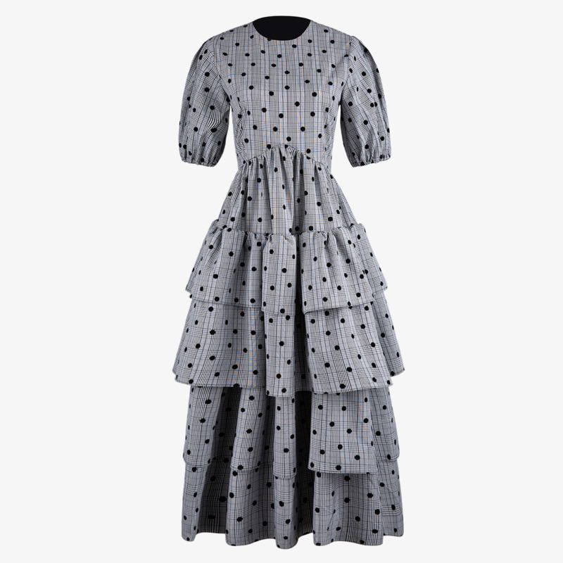 DEAT 2019 nouveau début de l'automne mode femmes vêtements col rond manches courtes plissé rayé taille haute gâteau robe WH65502L